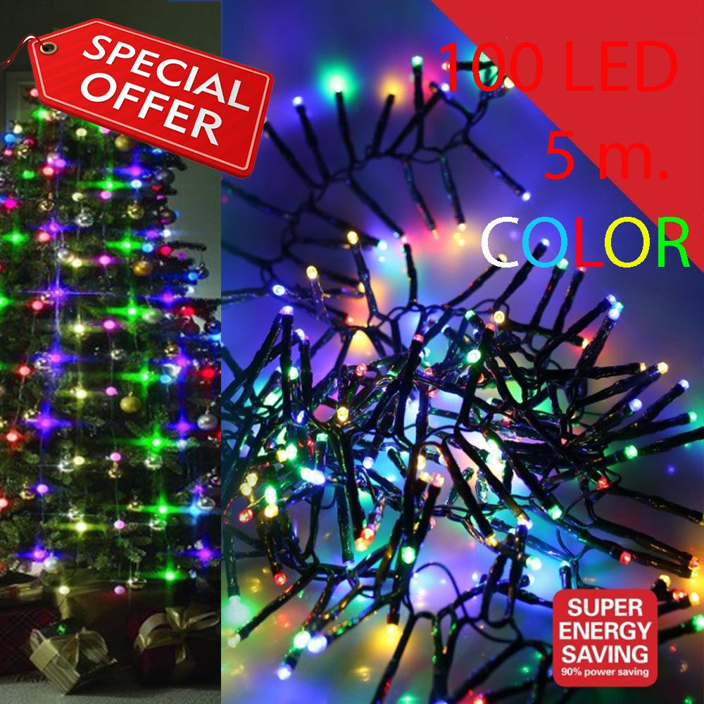 100 цветни коледни LED лампички с програматор, нечупливи, дължина 5 м. код.8-116