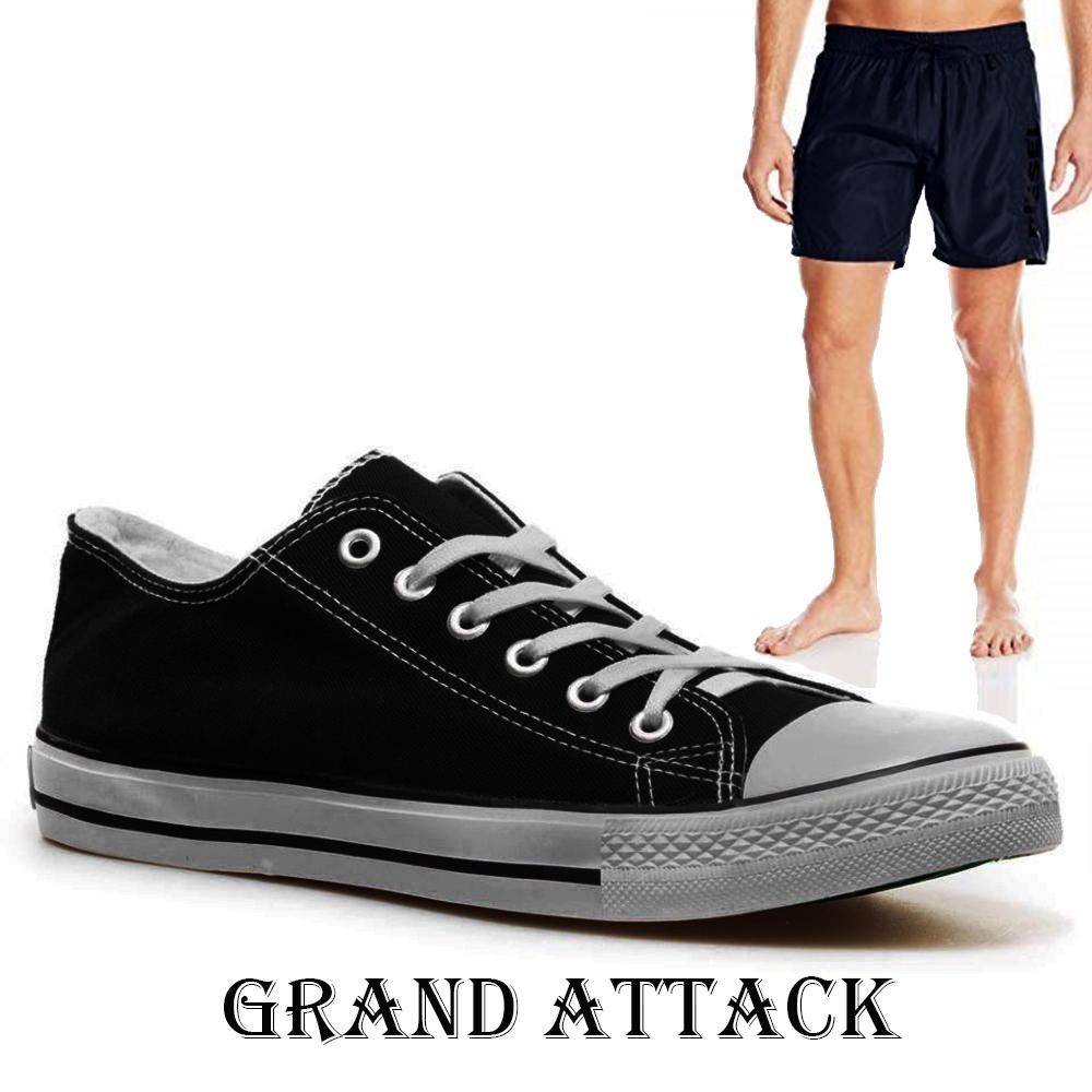 Мъжки спортни обувки Grand Attack 30236-1 Black, чифт чорапи - ПОДАРЪК