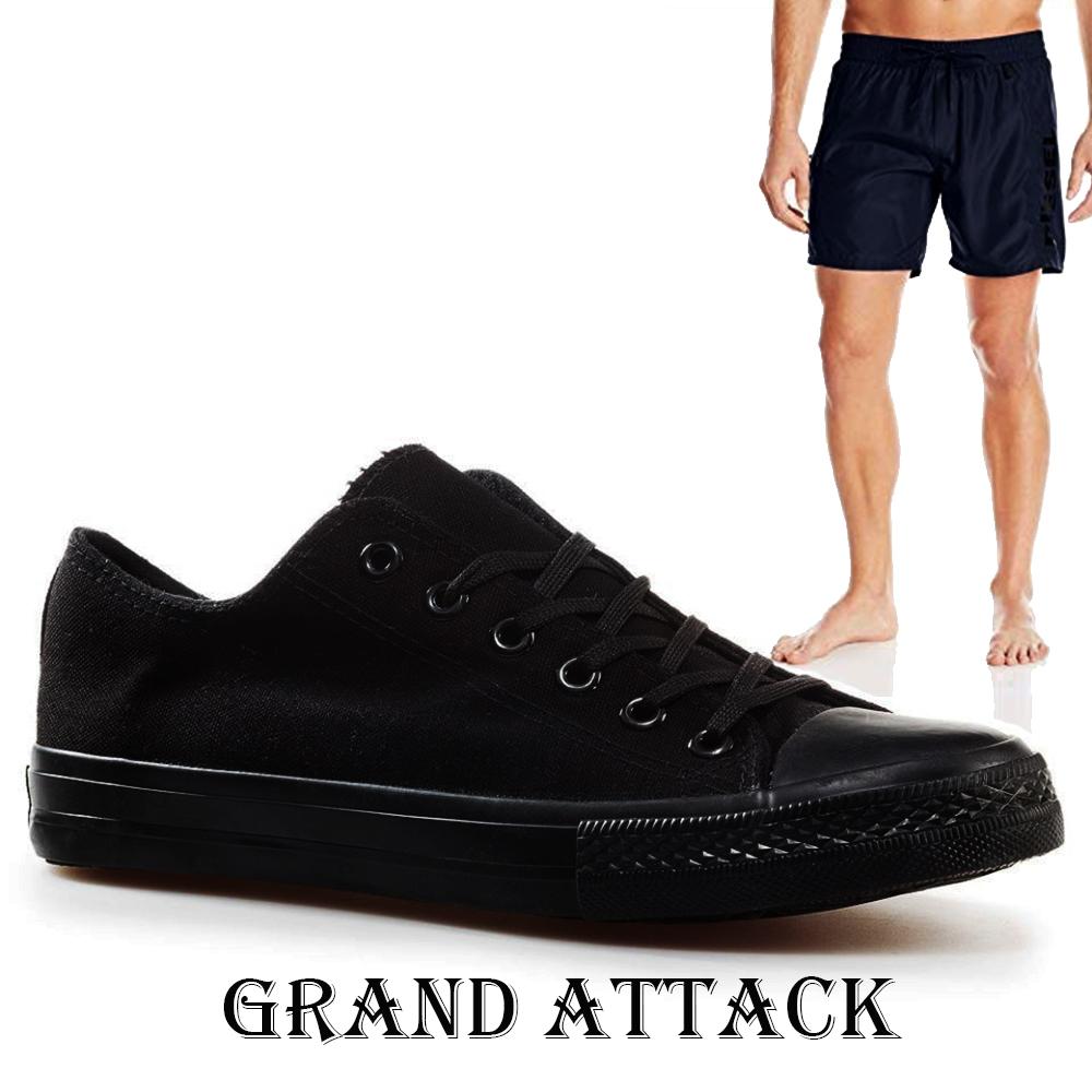 Мъжки спортни обувки Grand Attack 30236-6 Black, чифт чорапи - ПОДАРЪК
