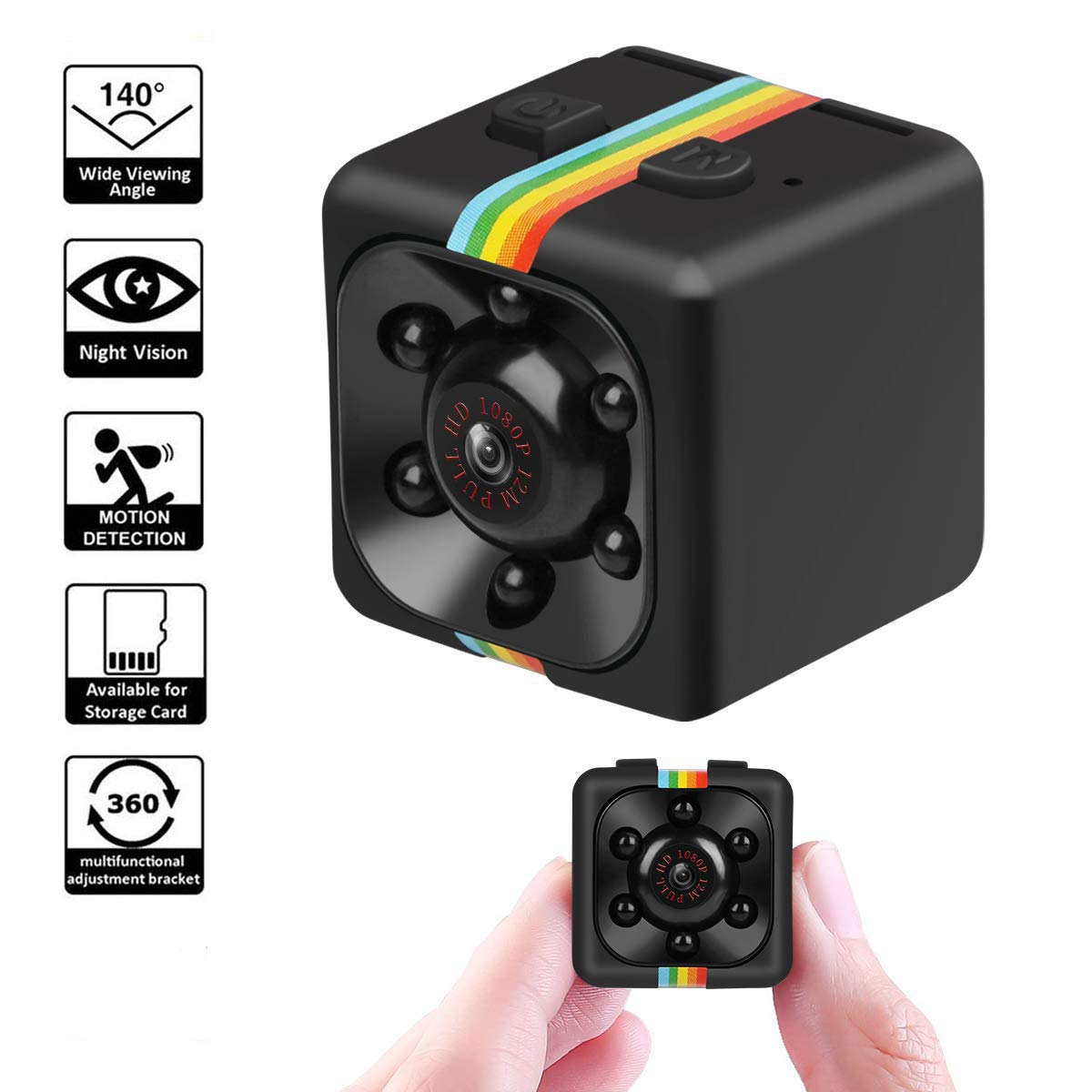 Шпионска микро камера SQ11 FULL HD с нощен режим и датчик за движение, карта памет до 32GB