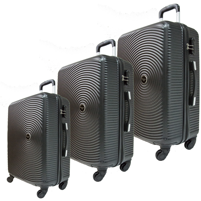 Комплект 3 броя ABS куфари ART GALERY PICASSO 8080,  скрит механизъм,  BLACK