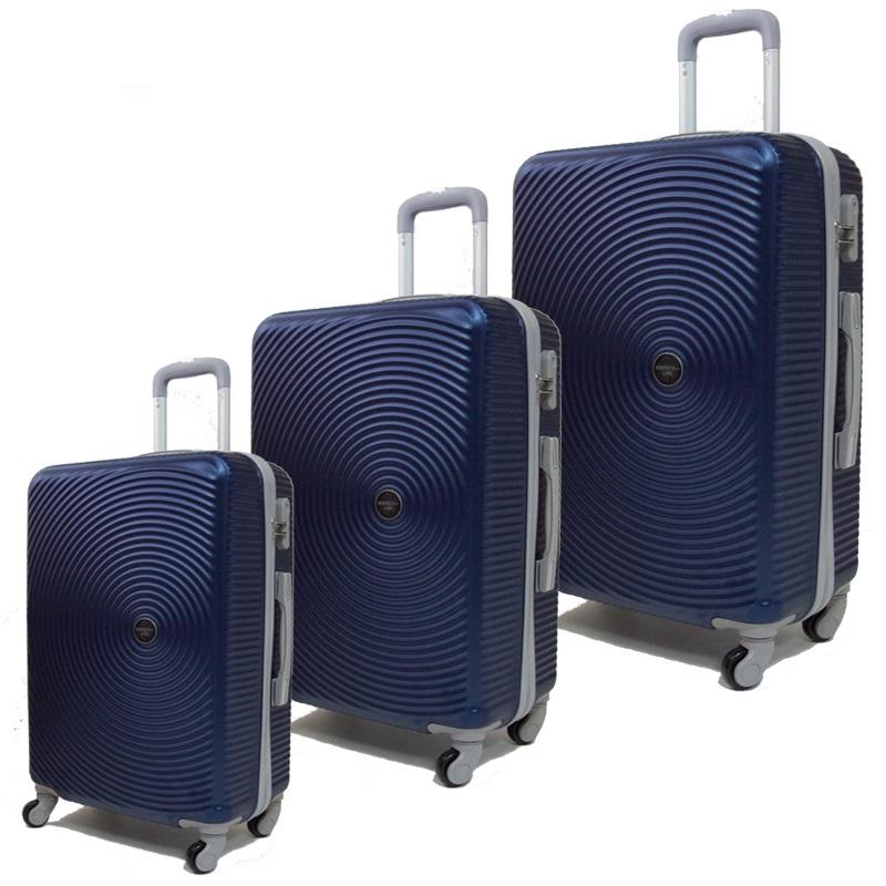 Комплект 3 броя ABS куфари ART GALERY PICASSO 8080,  скрит механизъм,  BLUE