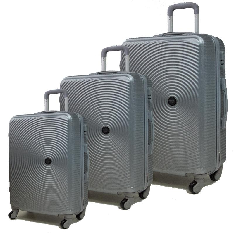 Комплект 3 броя ABS куфари ART GALERY PICASSO 8080,  скрит механизъм,  SILVER