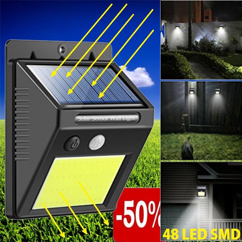 Автономна соларна LED лампа с датчик за движение и вградена батерия, 48 LED SMD