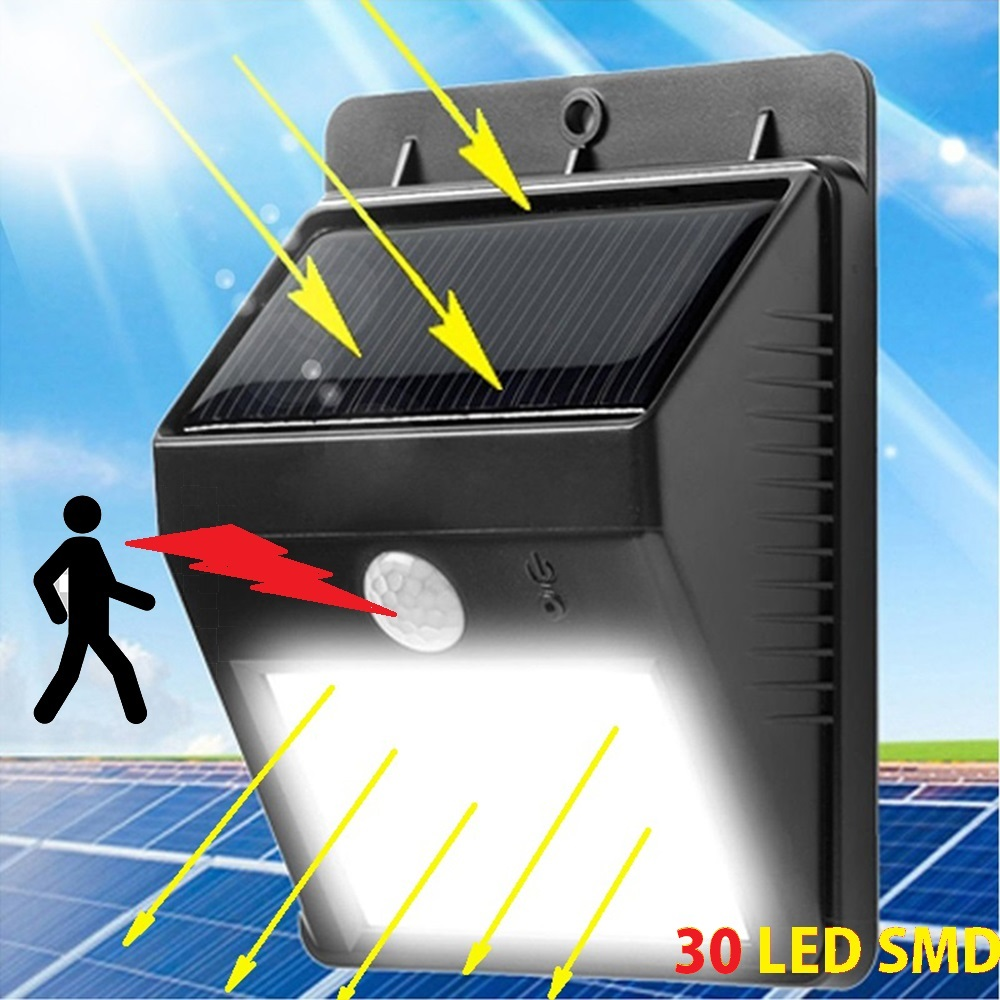 Автономна соларна LED лампа с датчик за движение и вградена батерия, 30 LED SMD