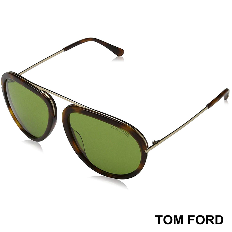Мъжки слънчеви очила TOM FORD STACY TF452 56N Havana/Green Lens (57/16/140): Clothing