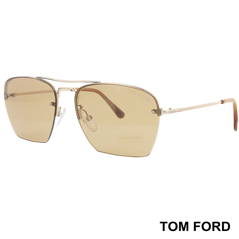 Унисекс слънчеви очила TOM FORD TF504 28E Shiny Rose Gold Aviator Sunglasses
