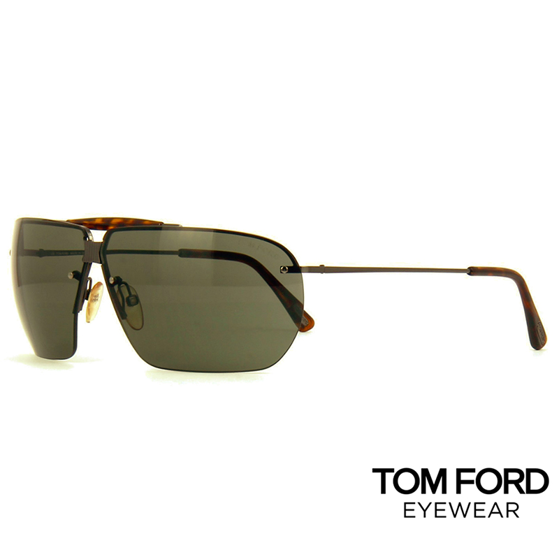 Мъжки слънчеви очила Tom Ford Dunning TF6 772 Black  Gold Leather Square Aviator Sunglass