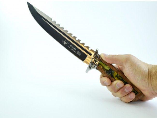 Огромен ловен нож COLUMBIA S052-1 с оксидирано острие с канал и дървена дръжка