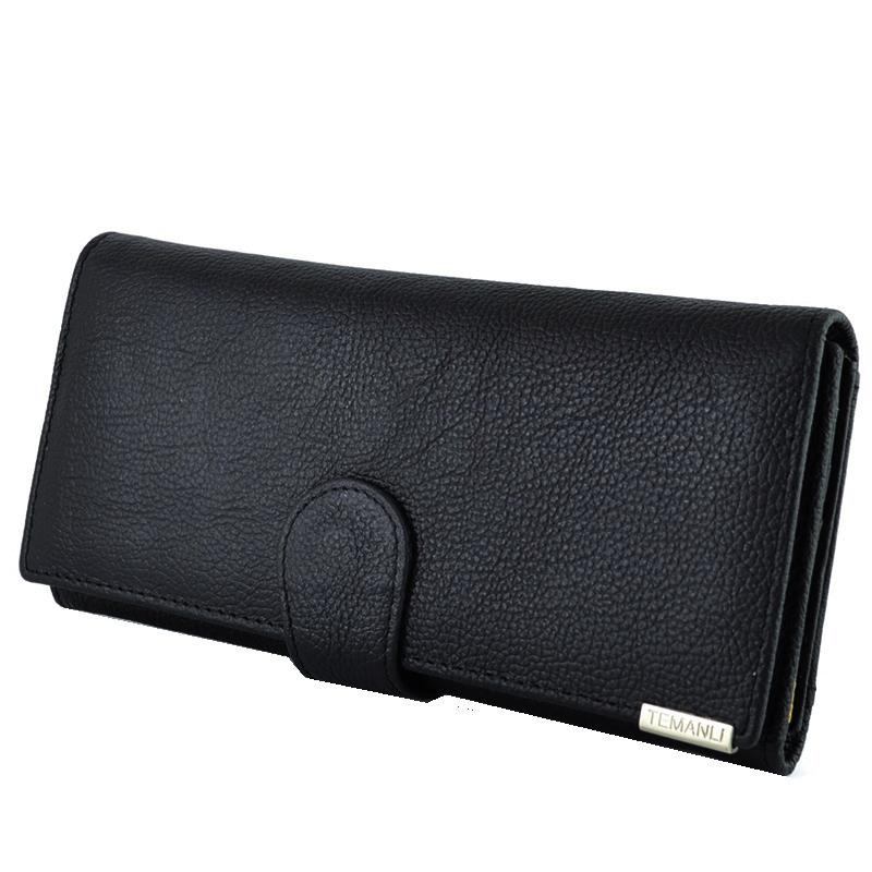 Дамски портфейл от естествена кожа TEMANLI  4202 BLACK CLASSIC