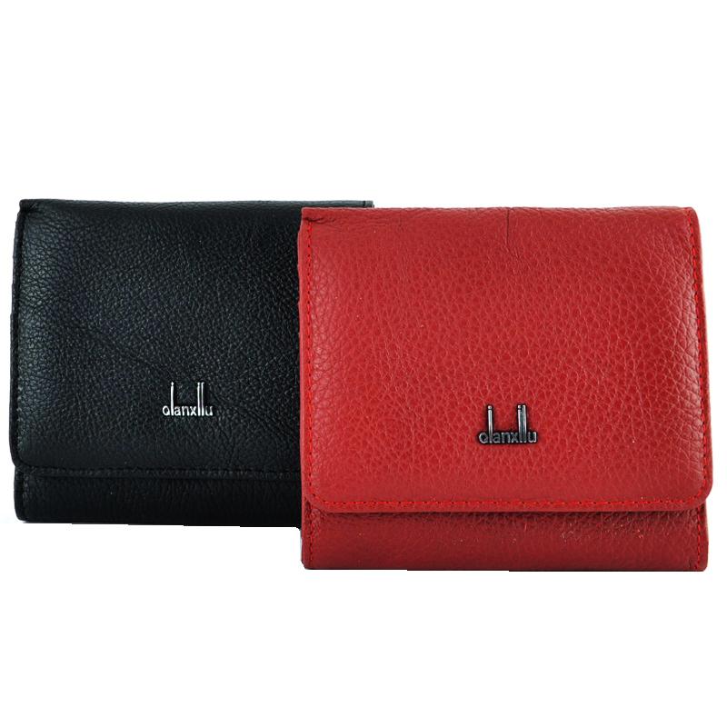 Дамски портфейл от естествена кожа QIANXILU  1047 / черно, червено