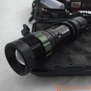 УЛТРА ПРОМО: мощен немски водоустойчив метален LED фенер Т6 със ЗУМ и противоударна кутия