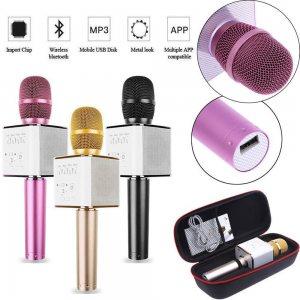 Караоке супер микрофон - автономна стерео портативна блутут система Q7