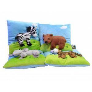 Ултра мека и нежна детска възглавничка D7026 зебра, тигър, слон, мечка