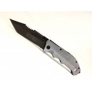 Тежък изцяло метален сгъваем нож SOG с широко оксидирано острие