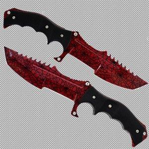 Геймърски нож CS HUNTSMAN ELITE RUBY HM7 и ПОДАРЪК дървена стойка