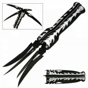 Рядък четворен сгъваем нож NINJA 4 TOOL MC-1025, Master Cutlery USA, с текстилен калъф