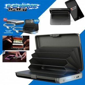 Портфейл с вградена батерия за мобилни устройства E-CHARGE WALLET BLACK
