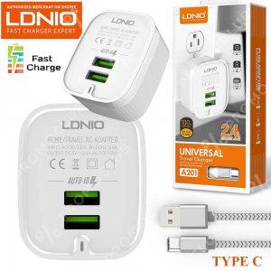Хай-тек зарядно за TYPE C LDNIO A201, 2 USB 2.4A, кабел TYPE C