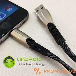 Метален кабел 3.0 А micro USB ANDROID LS70, FAST CHARGE, 100 см, метални жакове