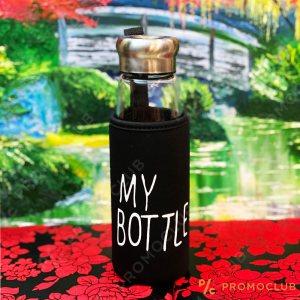 Стъклена EKO бутилка в термо-ударо-устойчив кобур MY BOTTLE, 420 ml.