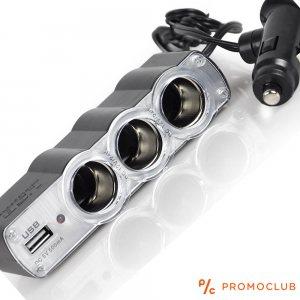 Троен разклонител за авто запалка с USB WF0120, 12-24V, 60W, 5.4A/500mA