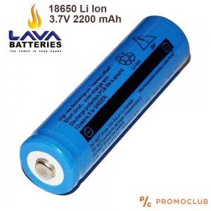 Li Ion 18650 акумулаторна батерия LAVA висок клас 3.7V 2200 mAh, с пъпка