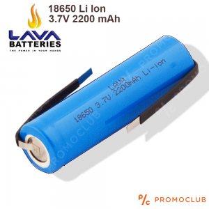 Li Ion 18650 акумулаторна батерия LAVA висок клас 3.7V 2200 mAh, БЕЗ ПЪПКА