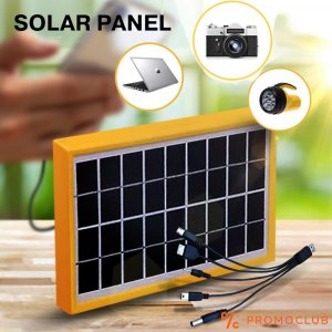 Мощен USB соларен панел 6V 3.5W и 5 накрайника за телефони