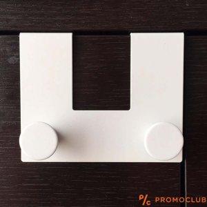 Метална двойна закачалка за кърпи към чекмеджета и шкафове WHITE DOUBLE