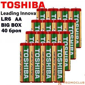 Кутия 40 батерии TOSHIBA HEAVY DUTY  1.5V LR3 AA (по-големите)