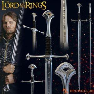 Меч - уникат АНДУРИЛ на Лорд Арагорн от Властелина на пръстените, реален размер със стойка
