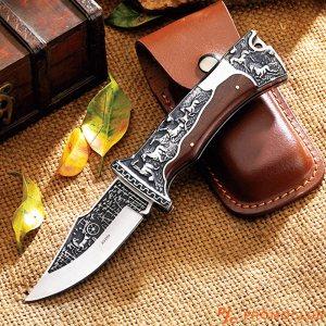 Премиум клас сгъваем ловен нож COLUMBIA A3189, Кания от естествен телешки бланк