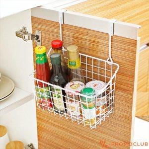 Висяща кошничка - органайзер за кухня, баня и килер, метална, бяла