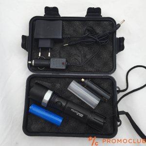 Мощен немски метален LED фенер с режим на увеличаване и противоударна кутия