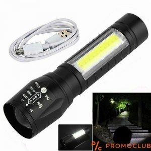 USB МУЛТИ LED фенер с четири режима на светене, ЗУУМ, каишка за китка и вградена батерия