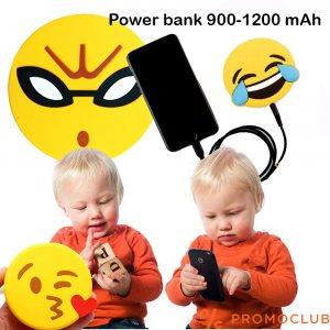 Удароустойчива външна USB батерия KID EMOJI POWERBANK, 1200 mAh