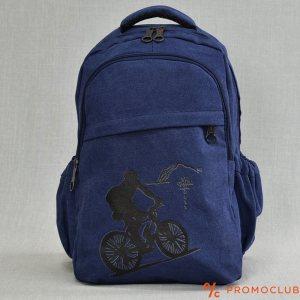 Раница от брeзент , здрава и удобна с вътрешен джоб BLUE 8809