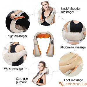 4D шиацу масажор за цяло тяло, 6 бутона, 16 пръста