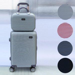 ТОП комплект куфари ABS WE TRAVEL S+M в четiри цвята, надкуфарна авиочанта и ръчен куфар