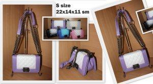 Дамска чанта ШАНЕЛ WHITE AND PURPLE S размер 22 х 14 х 11 см