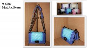 Дамска чанта ШАНЕЛ BLUE and BLUE, М размер 26 х 14 х 10 см