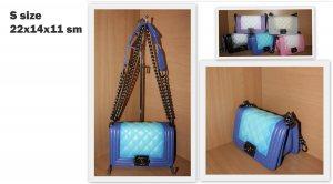 Дамска чанта ШАНЕЛ BLUE and BLUE S размер 22 х 14 х 11 см