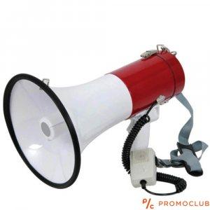 Мегафон с вградена сирена и трубка 12V 15W- червено/бял
