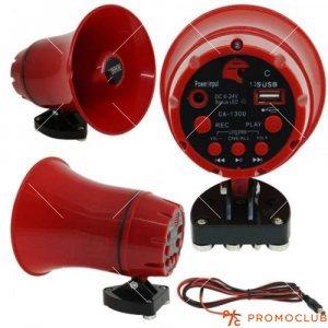 Мегафон с USB и запис на магнитна стойка 6-24V 25W- червен