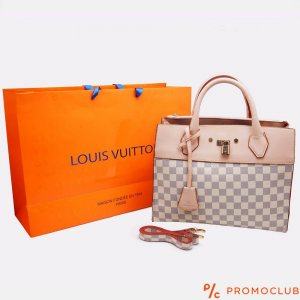 Дамска чанта LOUIS VUITTON - бял шахмат с катинарче