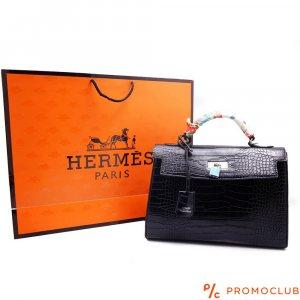 Дамска чанта HERMES, черна с цветна дръжка, естествена кожа