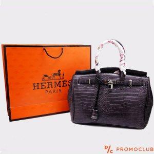 Дамска чанта HERMES, лилава с цветна дръжка естествена кожа