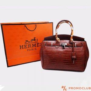 Дамска чанта HERMES- червена с цветна дръжка,  естествена кожа