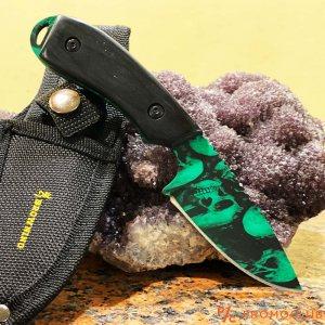 Култов нож BROWNING GREEN SKULL, кания за колан и дръжка черно дърво
